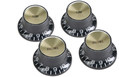 GIBSON Top Hat Knobs w/Gold Metal Insert 4-Pack (Black)