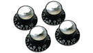 GIBSON Top Hat Knobs w/ Silver Metal Insert 4-Pack (Black)