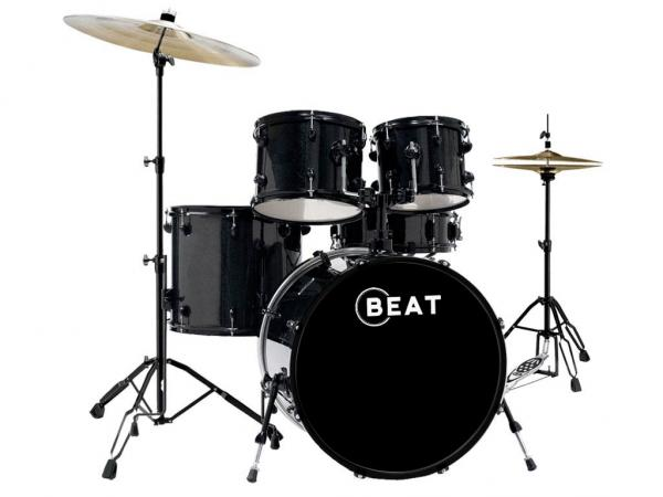 Batteria acustica student black con piatti e sgabello strumenti