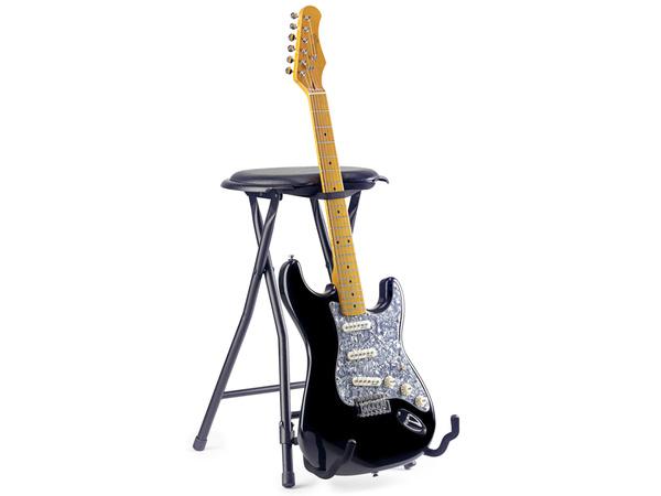 Sgabello per chitarrista con reggichitarra universale strumenti