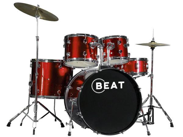 Batteria acustica red con piatti e sgabello strumenti musicali