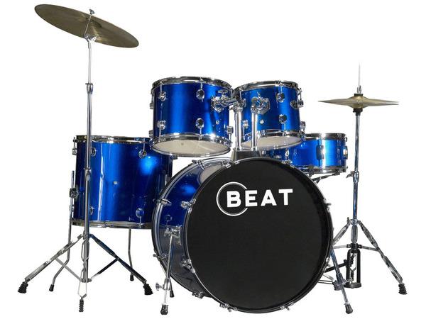 Batteria acustica blue con piatti e sgabello strumenti