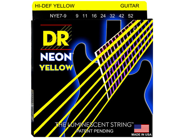 DR STRINGS NYE7-9 Neon Hi-Def Yellow Electric