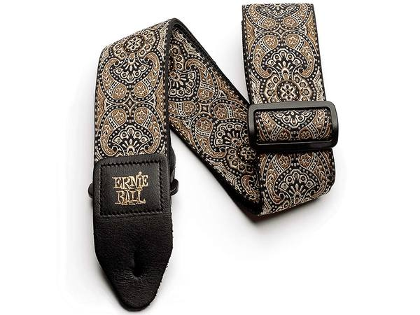 ERNIE BALL 4163 Jacquard Guitar Strap Gold & Black Paisley