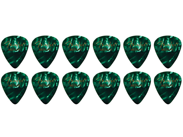 FENDER 351 Shape Premium Picks Medium Green Moto (12 pcs)