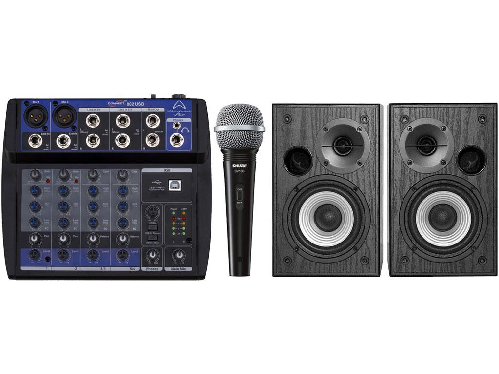 karaoke kit two connect 802 usb studio 980t shure sv100 strumenti musicali net. Black Bedroom Furniture Sets. Home Design Ideas