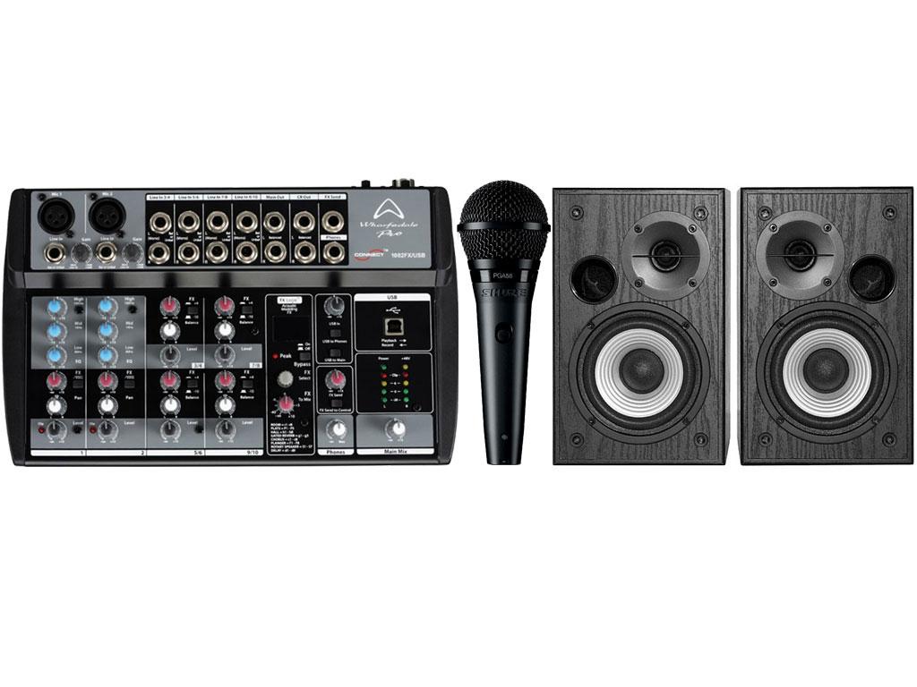 kit karaoke con mixer usb 10 input casse attive 24w microfono. Black Bedroom Furniture Sets. Home Design Ideas