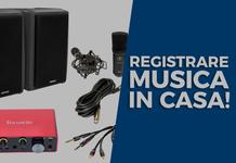 Studio di registrazione in casa: scheda audio e microfono per registrare chitarra e voce