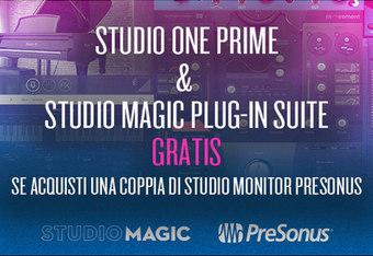 Studio One Prime e Studio Magic Plug-in Suire gratis con studio monitor Presonus!